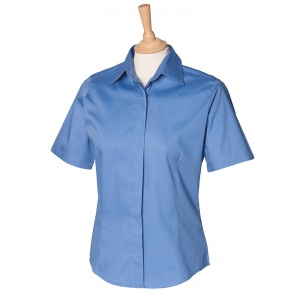 Henbury Women's short sleeve Oxford shirt