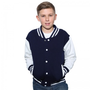 AWDis Kids varsity jacket with Embroidery, Print, Transfer.