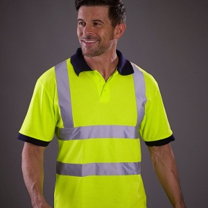 Yoko Hi vis short sleeve polo with Embroidery, Print, Transfer.