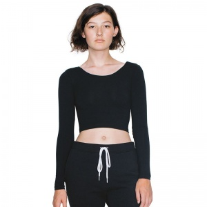 American Apparel Long sleeve cotton Spandex jersey crop top 8379 Embroidery, Print, Transfer