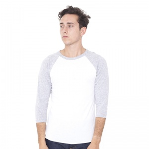 American Apparel Unisex poly/cotton 3/4 sleeve raglan shirt BB453 Embroidery, Print, Transfer