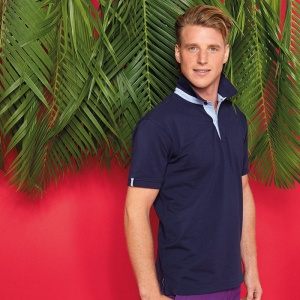Asquith & Fox Cotton polo with Oxford fabric insert, Embroidery, Print, Transfers