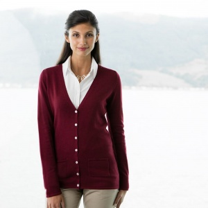 Henbury Women's V-button cardigan, Embroidery