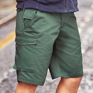 Russell Polycotton twill workwear shorts, Embroidery, Print, Transfers
