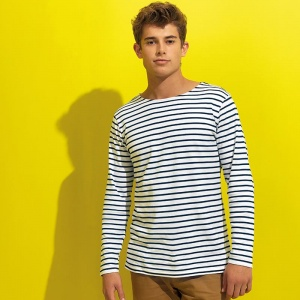 Asquith & Fox Men's Marinière coastal long sleeve tee, Embroidery, Print, Transfer.