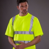 Yoko Hi vis short sleeve t-shirt with Embroidery, Print, Transfer.