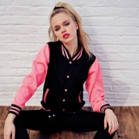 AWDis electric varsity jacket with Embroidery, Print, Transfer.