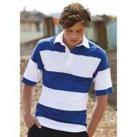 Front Row & Co Sewn stripe short sleeve rugby shirt, Embroidery, Print, Transfer