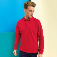 Asquith & Fox Men's classic fit long sleeved polo, Embroidery, Print, Transfers