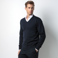 Kustom Kit Arundel v-neck sweater long sleeve, Embroidery