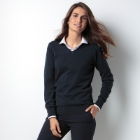 Kustom Kit Women's Arundel v-neck sweater long sleeve, Embroidery