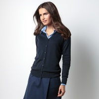 Kustom Kit Women's Arundel v-neck cardigan long , Embroidery