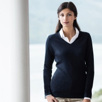 Henbury Women's 12 gauge v-neck jumper, Embroidery